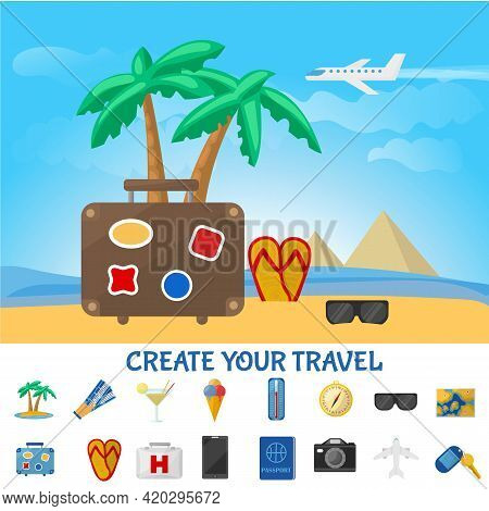 Colorful Summer Travel Composition With Bag Flip Flop Sunglasses On Tropical Beach And Vacation Elem