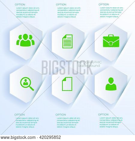Business Concept In White Paper Style With Six Infographic Hexagonal Stickers Inserted In Slots Flat