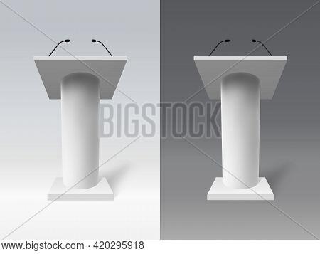 White Realistic Tribune. Speech 3d Debate Tribune, Public Presentation Speech Tribune Vector Illustr