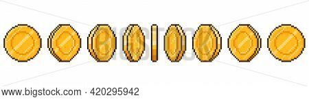 Pixel Art Coin Animation. Game Ui Golden Coins Rotation Stages, Pixel Game Money Animated Frames Vec
