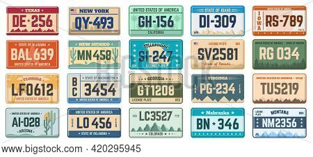 Car Number Plates. Vehicle Use States License Registration Plates, Retro Automobile License Plates V