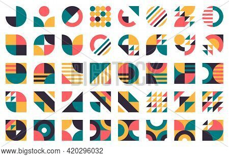 Abstract Bauhaus Shapes. Modern Circles, Triangles And Squares, Minimal Style Bauhaus Figures Vector