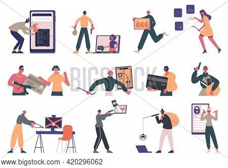 Cyber Criminals. Hacker Criminal Characters, Data Stealing, Internet Fraud And Security System Hacki
