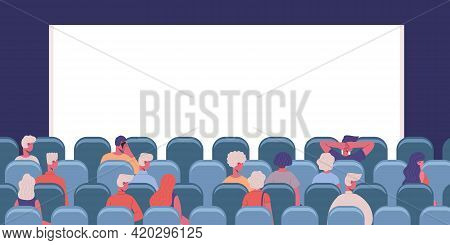 People In Cinema. Movie Theatre Male And Female Characters View From Back Vector Illustration. Men A