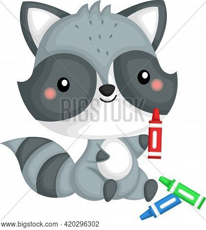 A Vector Of A Happy And Adorable Raccoon Playing With Crayon