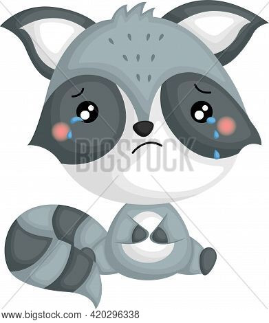 A Vector Of A Sad Raccoon With Tears In His Eyes