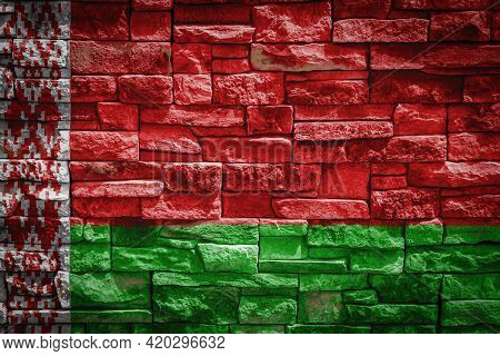 National Flag Of Belarus On Stone  Wall Background.the Concept Of National Pride And Symbol Of The C