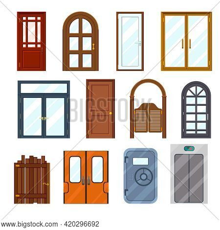 Vector Colourful Front Doors Set. Front Architecture Interior, Wooden And Colorful, Doorway And Exit