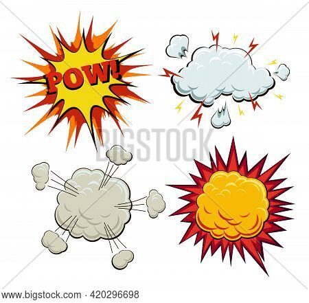 Boom, Explosion And Pow Set. Burst And Bang, Blast And Artwork Sketch, Fire And Smoke Bubble, Vector