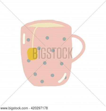 Tea Cup Hand Drawn. Scandinavian Hygge. Cozy Home Pink