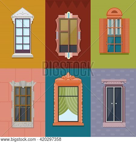 Colorful Windows Flat Collection Of Different Shapes And Construction For Building Exterior On Wall