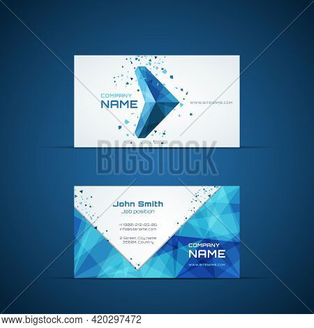 Blue Arrow Business Card Template. Company Name And Design, Corporate And Symbol. Vector Illustratio