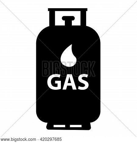 Gas Tank Icon On White Background. Gas Cylinder Tank Sign. Liquefied Petroleum Gas Cylinder Symbol.