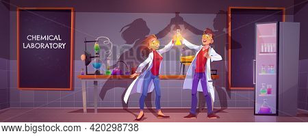 Happy Chemists In Chemical Laboratory Holding Glass Flask With Glow Liquid Doing Scientific Research