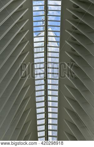 New York City - April 18, 2021: View Of The World Trade Center Complex From The Oculus In Lower Manh