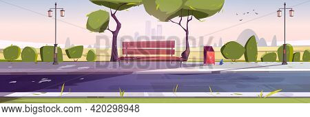 Bench In Park, Summer Landscape With City View Daytime Background, Empty Public Place For Walking An