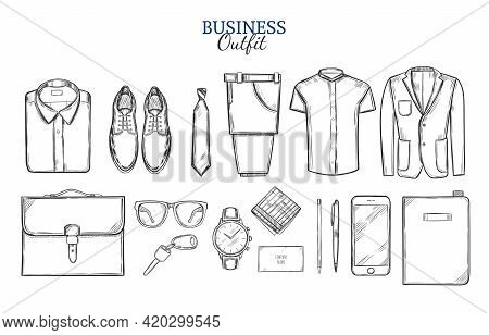 Business Clothing Sketch Set With Shirt Shoes Tie Trousers Jacket Bag Watch Key Wallet And Devices I
