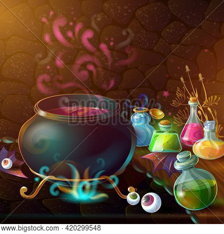 Magic Bottles Of Potion Composition With Large Pot And Ingredients For Potion Around Vector Illustra