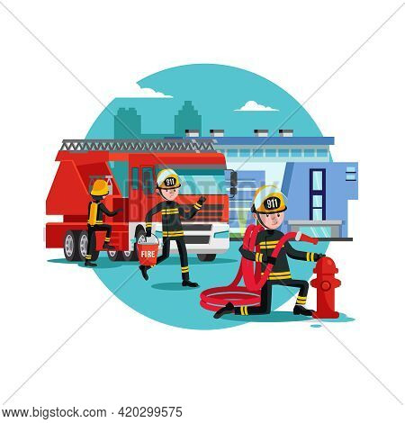 Colorful Firefighting Template With Fireman Rescue Brigade Fire Truck And Equipment Vector Illustrat