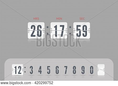 Vector Illustration Template. White Scoreboard Number Font. Vector Coming Soon Web Page Template Wit