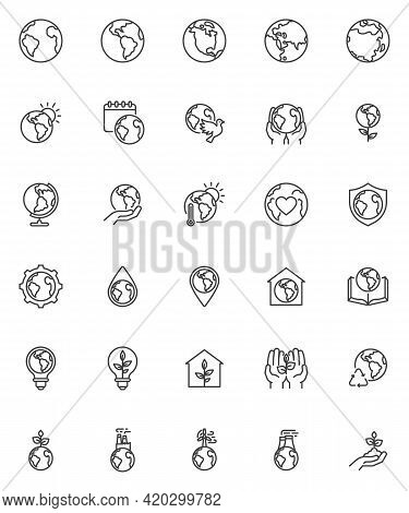World Environment Day Line Icons Set. Linear Style Symbols Collection, Outline Signs Pack. Eco Frien