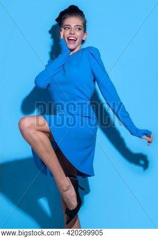 Stylish Woman In Fashion Trend Dress. Beautiful Fashionable Girl. Fashion Beauty Boutique Advertisin