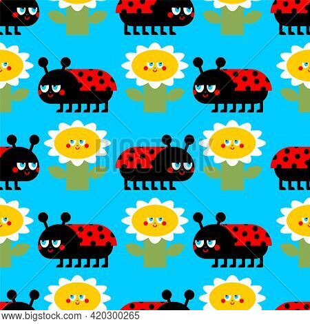 Ladybug Pattern Seamless. Ladybird Background. Red Bug Texture. Baby Fabric Ornament