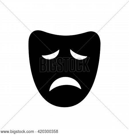 Drama Or Tragic Face Mask Solid Black Icon. Sad Mood Silhouette. Trendy Flat Isolated Symbol, Sign F