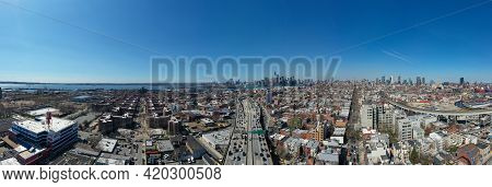 Brooklyn, New York - Apr 8, 2021: Panoramic View Of The Gowanus Expressway In Brooklyn, New York Wit