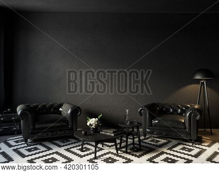 Black Interior With Leather Armchairs, Coffee Table, Floor Lamp And Decor. 3d Render Illustration Mo