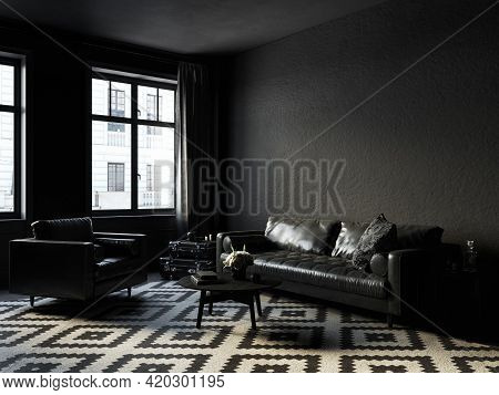 Black Interior With Sofa And Armchair, Carpet, Coffee Table And Decor. 3d Render Illustration Mock U