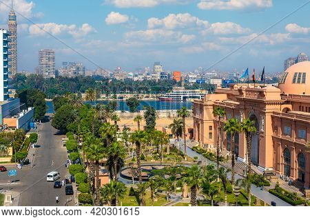 Cairo, Egypt - May 11, 2021 : Cairo Museum Of Egyptology And Antiquities. Aerial View Of Facade Of T