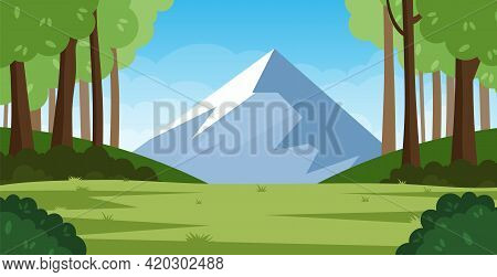 Cartoon Forest Background, Nature Landscape With Deciduous Trees, Green Grass, Bushes, Mountain. Sce