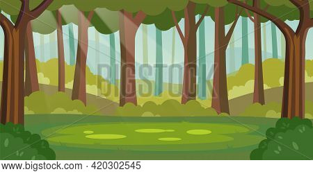 Magic Summer Jungle Forest Glade With Sunbeams. Cartoon Forest Background, Nature Landscape With Tre