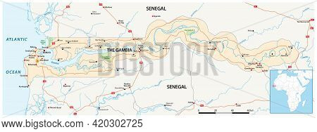 Road Map Of The West African State Of Gambia