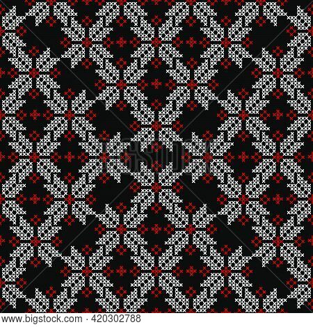 Embroidered Cross-stitch Seamless Pattern With Ethnic Motifs
