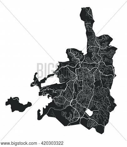 Jerusalem Map. Detailed Vector Map Of Jerusalem City Administrative Area. Cityscape Poster Metropoli