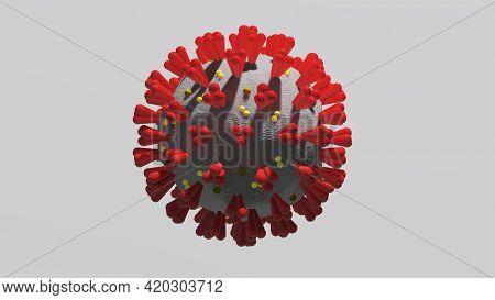 3d Illustration Of Coronavirus Microscopic Illustration Detail Of The Virus