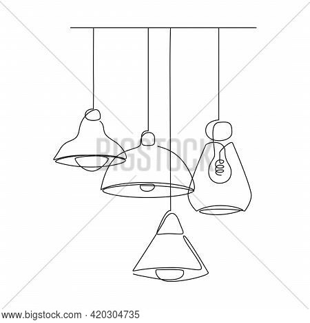 Loft Lamps Collection And Lampshades In One Line Drawing. Vector Illustration Of Hanging Modern Chan
