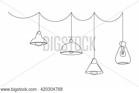 Loft Lamps Collection And Lampshades In One Line Drawing. Horizotal Vector Illustration Of Hanging M