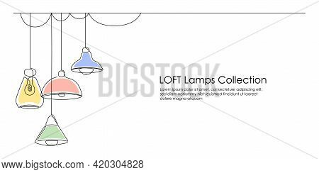 Loft Lamps Collection And Lampshades In One Line Drawing. Horizontal Banner In Minimalistic Industri