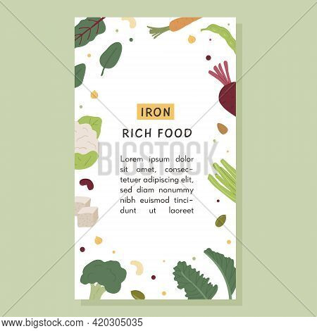 Social Media Vertical Banner Of Iron Rich Food Sources. Social Media Story Template With Place For T
