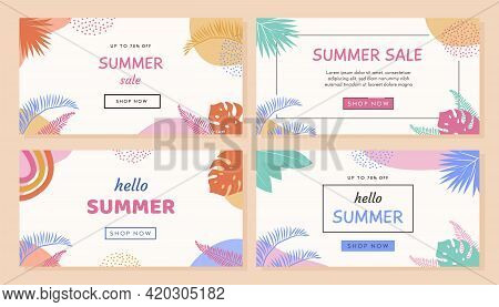 Set Of Trendy Abstract Horizontal Banner Template With Tropical Palm Leafs And Geometric Elements. M