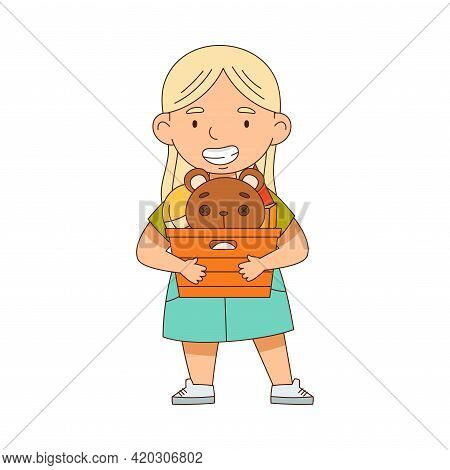 Happy Blond Girl Holding Box With Toys Playing In The Nursery Vector Illustration