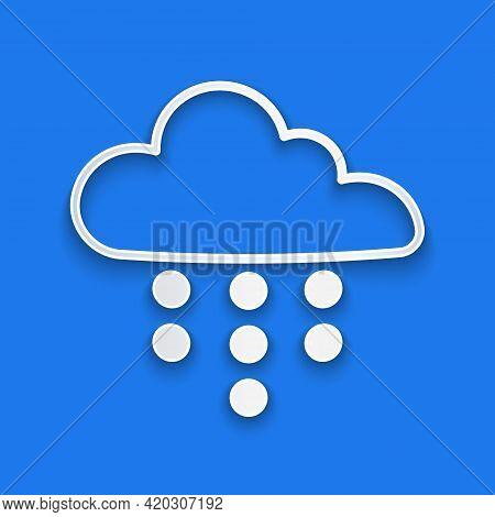 Paper Cut Cloud With Rain Icon Isolated On Blue Background. Rain Cloud Precipitation With Rain Drops