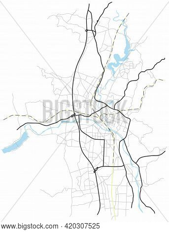 Marioka City Map (japan) - Town Streets On The Plan. Monochrome Line Map Of The  Scheme Of Road. Urb