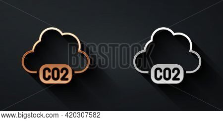 Gold And Silver Co2 Emissions In Cloud Icon Isolated On Black Background. Carbon Dioxide Formula, Sm