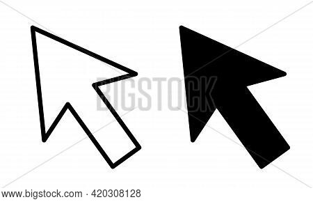 Cursor Icons. Cursor Sign And Symbol In Black And Outline Forms
