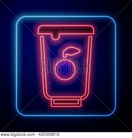 Glowing Neon Yogurt Container Icon Isolated On Black Background. Yogurt In Plastic Cup. Vector