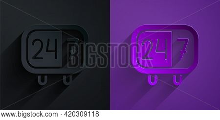 Paper Cut Clock 24 Hours Icon Isolated On Black On Purple Background. All Day Cyclic Icon. 24 Hours